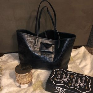 HTF!! Marc by Marc Jacobs Navy Croc Embossed Tote